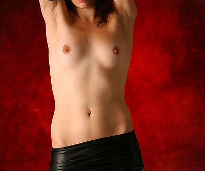 Blue eyed Carol Bree loves to pose her shaved pussy in amazing solo show