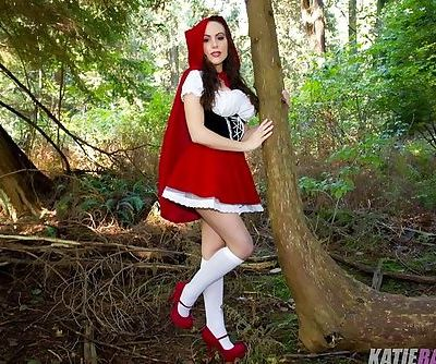 The slutty version of Little Red Riding Hood is horny babe Katie Banks