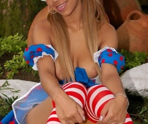 Extreme teen-age fairytale doll striptease and dildoing