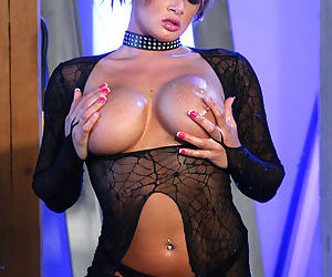 She combines cute and hot in a set where her big boobs and pussy come out