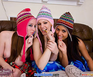 Janessa and her two friends are posing together and eating pussy