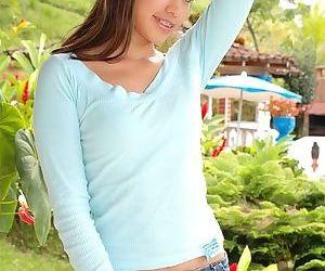 Cute latina teen pleasing herself with dildo