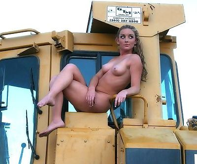 On a construction site in her tiny shorts and stripping