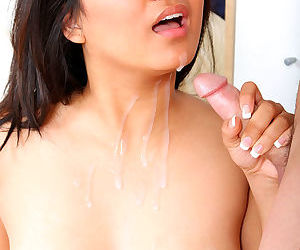 Shaved Asian vagina takes cock and her titties take his steamy cumshot
