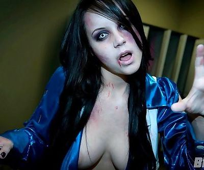 Bryci as a topless zombie cheerleader with incredible big breasts