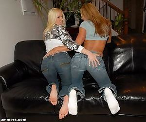 The chicks kiss and lick titty and they look stunning