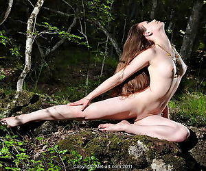 The beauty with a tight shaved pussy poses outdoors to show tits