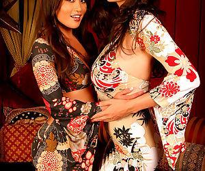 Tera Patrick sucking nipples with a hot Asian lesbian