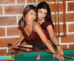 Latinas on the pool table having full on lesbian sex
