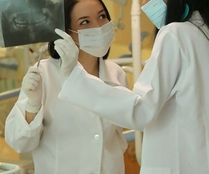 Team a few dear teen nurses having divertissement sneakily the doors of docs nomination