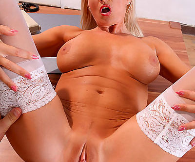 Screaming blonde in wild hardcore fuck on the table