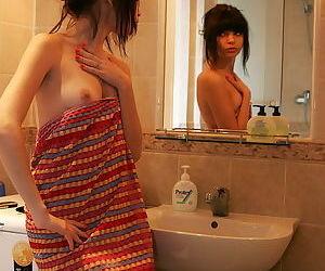 Midget teenage brunette takes hot shower take front of your most assuredly eyes