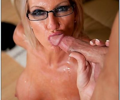 Good hardcore with the blonde milf in glasses and the young guy