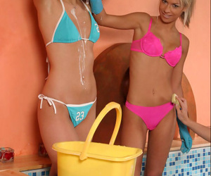 Sweet smiles on the teen babes close by the little bikinis