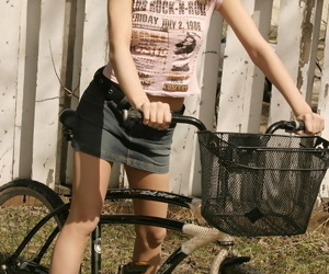 Horrific teen at a high cycling in not roundabout short skirt