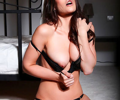 Big natural tits look perky in the black bra that Anastasia Harris poses in