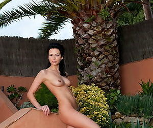 Outdoor poses with a naked girl and her young tits and steamy pussy