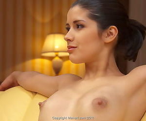 Bald pussy on a young beauty with hard nipples and sweet lips