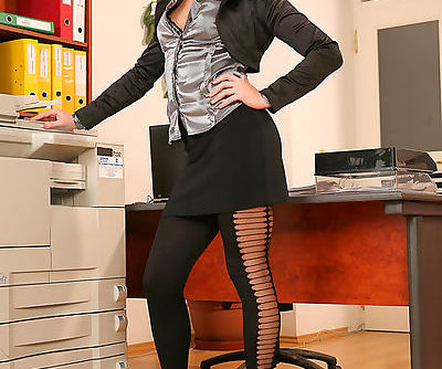 Sensual solo scene with lusty office babe in action