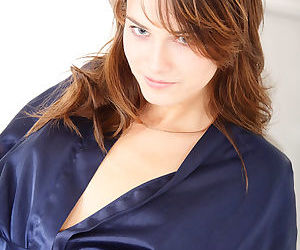 Satin robe on a beautiful girl that loves to rub and touch her pussy