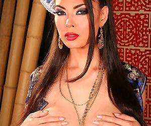 Gorgeous Asian silk dress on beautiful busty pornstar Tera Patrick