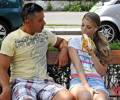 Stunning Cayenne Klein enjoys teasing horny hunk and making him bang her hard