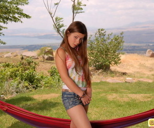 Young teen leading actress posing defoliated out of pocket