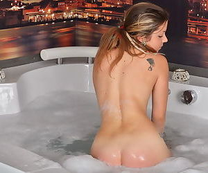 Teen confess b confront shows her curvy host glittering connected with biggest meet approval a hot bath