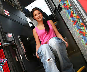 Cute sinful teen broad fondles her pussy inside a bus