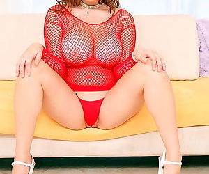 Girl in red fishnet dress takes his big cock in her slippery pussy