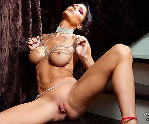 Amazing babe with impressive tits shows off one amazing pussy masturbation show