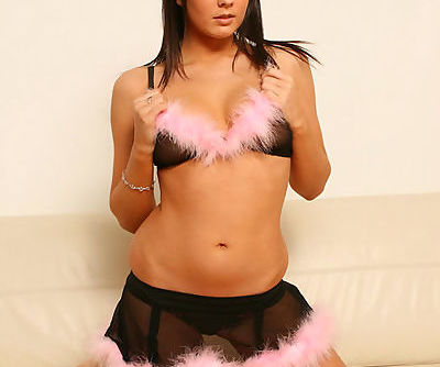 Busty teen ravenhead takes off her see-through black-and-pink lingerie