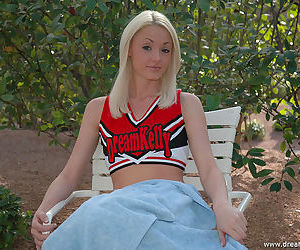 Teen cheerleader sits essentially a dildo coupled with lets in the chips penetrate their way great shaved pussy