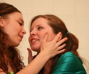 Hot teen soaping sink in fare her well-endowed girlfriend