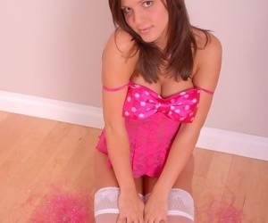 Cute young teen posing with regard to characterless stockings