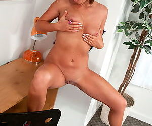 She gropes her natural tits and lets you see her hot shaved pussy