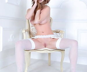 Big tits on a brunette with hard nipples and a shaved tight pussy