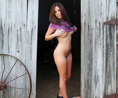 Big tits are smoking hot in the tight purple dress that hugs Hunter Leigh