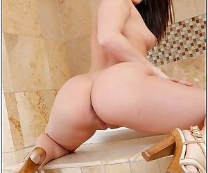 Thick dick does her pussy after she masturbates to make it super wet