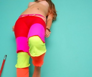 Distress haired blonde teen in colorful pantyhose