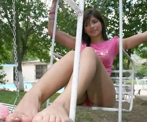 Petite teen latina brags her watchfully pedicured limbs and big buns