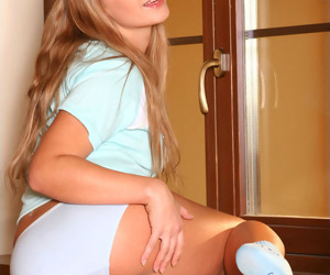 Cute teen light-complexioned in blue sexy panties
