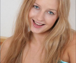 Cute and sexy blonde teen kidding relating to satin