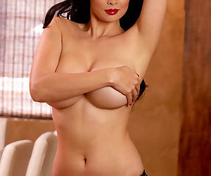 Shiny lipstick lovely Tera Patrick in lingerie is a glamorous goddess