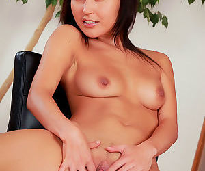 Exotic stunner with juicy body fingers her pretty shaved pussy by long naughty fingers