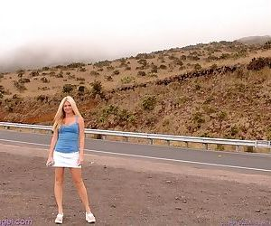 Youg hottie flashing her pussy on the open road