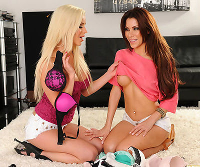 Busty lesbians are enjoying true pleasure in their naughty softcore session