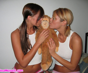 Dissolute teen bitches playing nearly monkey toy