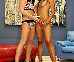 Melissa and Katsuni pose together and get all the way to the pussy licking