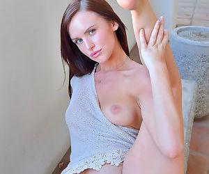 Horny doll feels needy to rub and stimulate her precious puffy twat